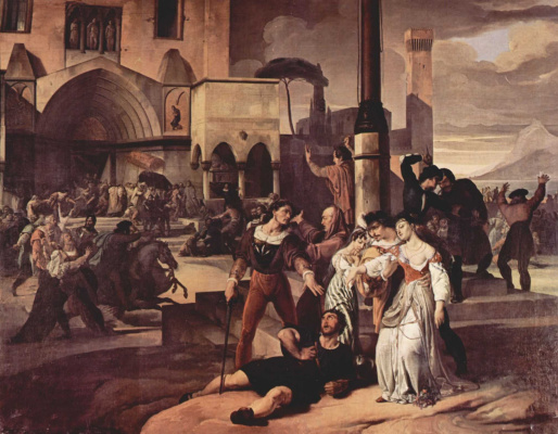 """Francesco Ayets. The cycle of paintings """"Sicilian Vespers"""". Scene 1"""
