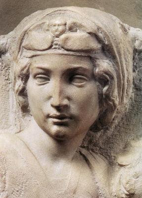 Michelangelo Buonarroti. Madonna Tondo Pitti. Fragment