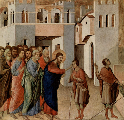 Duccio di Buoninsegna. Maesta, altar of Siena Cathedral, downside, predella with scenes of the Temptation of Christ and Miracles of Healing