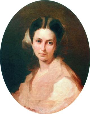 Ivan Kuzmich Makarov. Portrait of N. P. Bogolyubova, born Nechaeva. Early 1860s