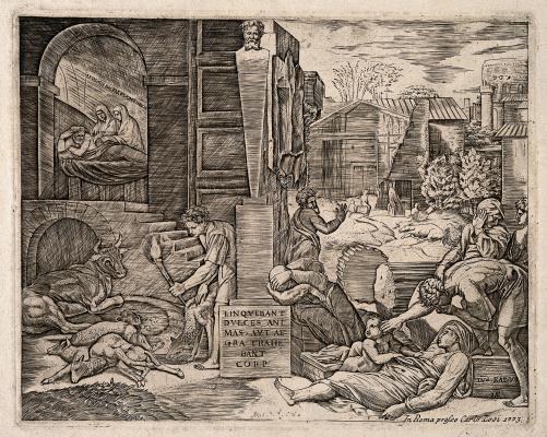 Marcantonio Raimondi. The plague in Phrygia. The engraved work of Raphael