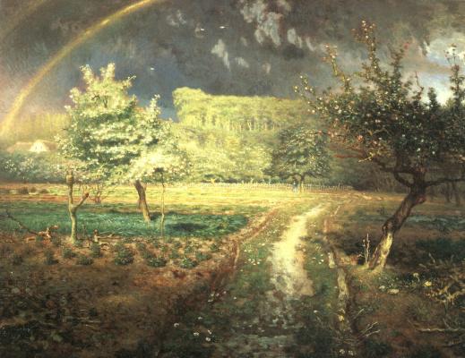 Jean-François Millet. Spring: a rainbow over the garden