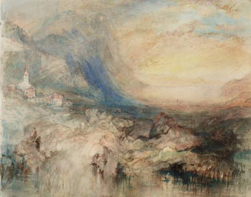Joseph Mallord William Turner. Goldau and Cursoe the lake in the distance. A rough sketch