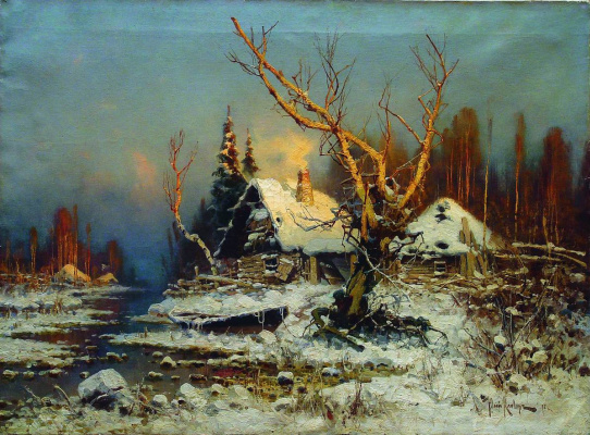 Julius Klever. Winter landscape with hut
