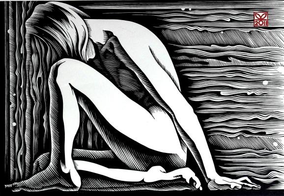 "Vladimir Kataev. ""Situation-1"", 43 x 63, linocut, 2011"