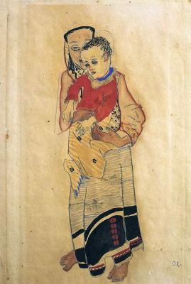 Oskar Kokoschka. Mother with baby on hands