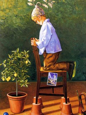 Карло Бертокки. Ребенок любуется цветком в горшке