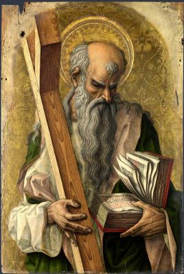 Карло Кривелли. Святой Андрей. Центральный алтарь Сан Доменико в Асколи, полиптих, левое внутреннее навершие