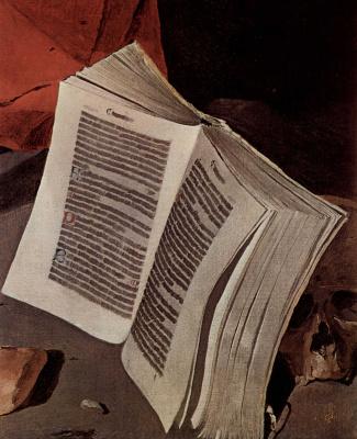 Жорж де Латур. Кающийся св. Иероним. Фрагмент. Книга