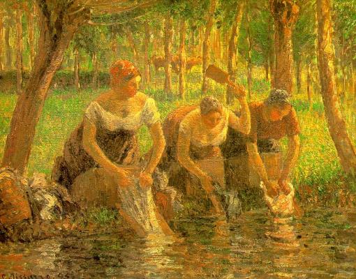 Camille Pissarro. The washerwomen, Eragny-sur-Epte
