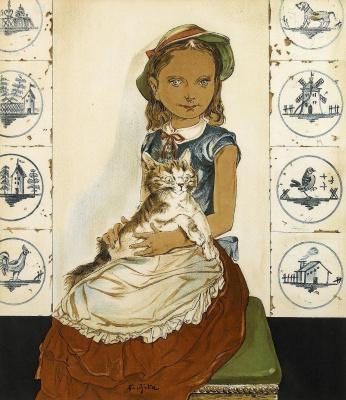 Tsuguharu Foujita (Léonard Fujita). Portrait of a girl with a cat