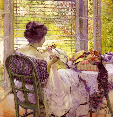 Эдуард Миллер. Девушка с шляпой у окна