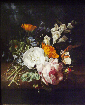 Rachelle Ruysch. A bouquet of flowers on a marble ledge