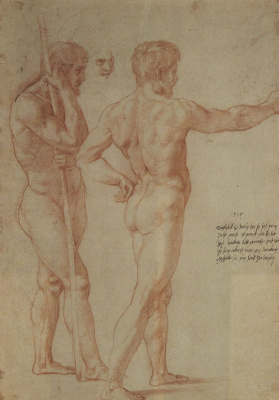 "Raphael Santi. Sketch for the fresco ""the Battle of Ostia"". Sketches of two Nude models"