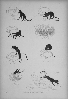 Theophile-Alexander Steinlen. Cats: pictures without words. Cat and aquarium