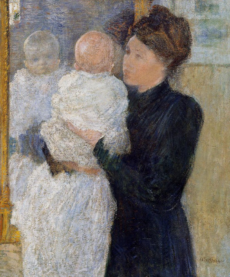 John Henry Twachtman. A mother and child