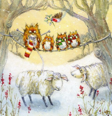 Jen Pashley. Owl, the three owl and sheep