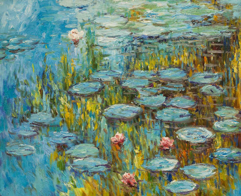 "Savely Kamsky. ""Water Lilies"", N11, a copy of the picture of Claude Monet"