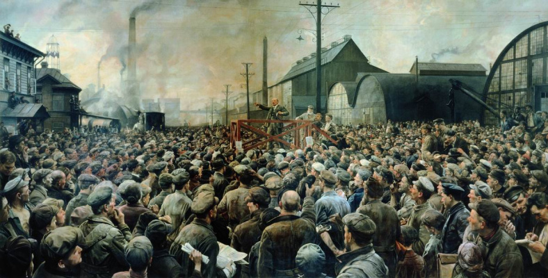 Isaac Brodsky. Speech by Vladimir I. Lenin at a rally of workers of the Putilov factory in May 1917. 1929