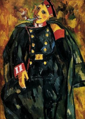 Mikhail Larionov. Smoking soldier