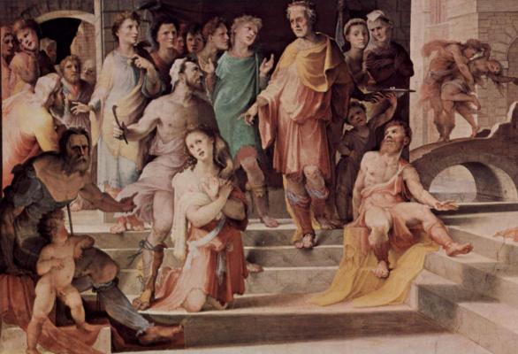 Domenico Beccafumi. The Victim Seleucia Localscope. Detail