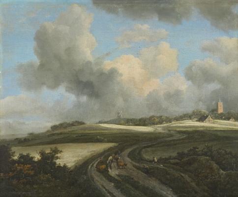 Jakob van Isaacs Ruisdael. Road through corn fields near Zader