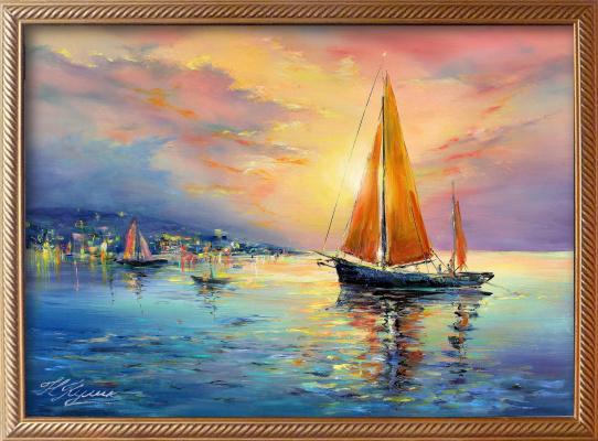 Natalia Vasilyevna Kulik. Sunset sailboat