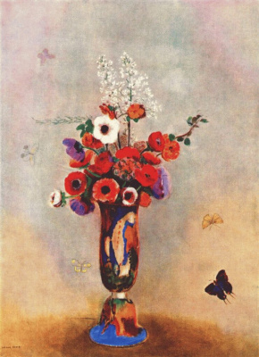 Odilon Redon. Vase with flowers and butterflies