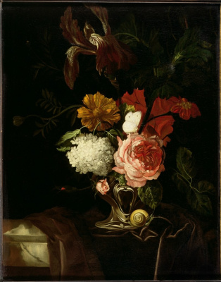 Willem van Aelst. Still life with flowers in a vase, a snail and a butterfly