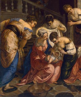 Jacopo (Robusti) Tintoretto. The birth of John the Baptist. Fragment
