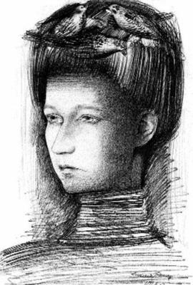 Alexander Grigoryevich Tyshler. A portrait of his wife, Anastasia Tyshler (With birds)