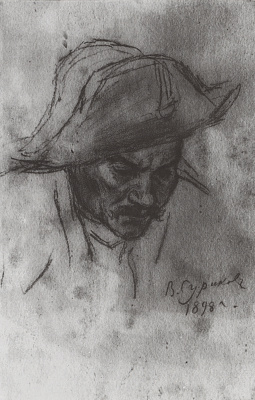 "Vasily Ivanovich Surikov. The head of a soldier in a cocked hat. A sketch for the painting ""Suvorov crossing the Alps"""