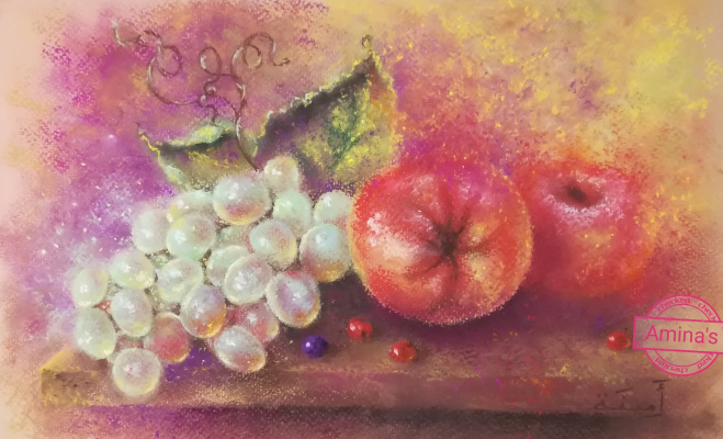 "Amina Magomedova. Author's picture by dry pastel ""Juicy Still Life"""