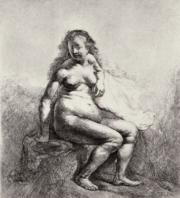 Рембрандт Харменс ван Рейн. Сидящая обнаженная
