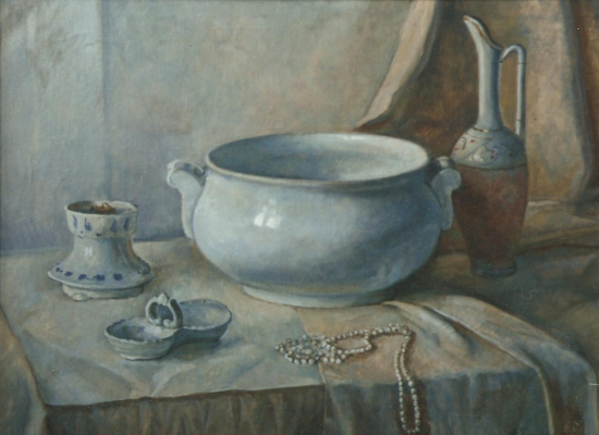 Aleksandr Chagadaev. Still life in whitish tones