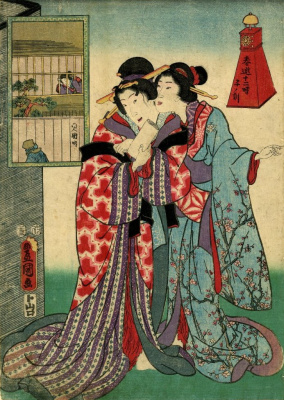 "Utagawa Kunisada. Night walk in the quarter of Shin-Nivara. The series ""12 hours spring entertainment: Hour of the Rat"""