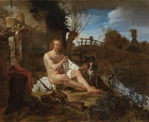 Gabrielle Metsu. The hunter, dressed after bathing