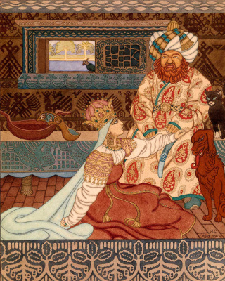 """Ivan Yakovlevich Bilibin. The king and queen. Illustration for the epic """"Volga"""""""