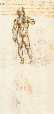 "Leonardo da Vinci. Sketch Of ""David"" By Michelangelo"