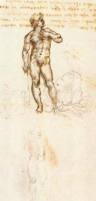 """Leonardo da Vinci. Sketch Of """"David"""" By Michelangelo"""