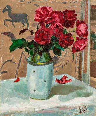 Cuno Amiè. Roses in a white vase