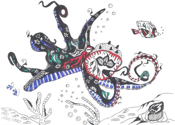 "Николай Николаевич Оларь. Series of stylized drawings: ""Underwater fantasy"" (7)"