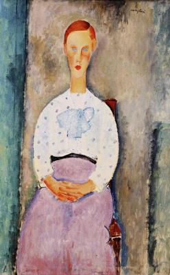Амедео Модильяни. Портрет сидящей девушки в блузе в горошек
