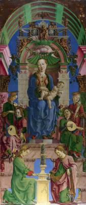 Козимо Тура. Дева с младенцем на троне