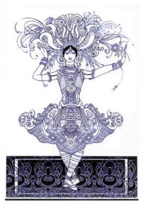 "Lev Samoilovich Bakst (Leon Bakst). Sketch of Tamara Karsavina's costume for the ballet ""Firebird"""