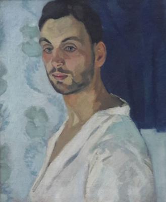 Robert Rafailovich Falk. Self portrait on blue background
