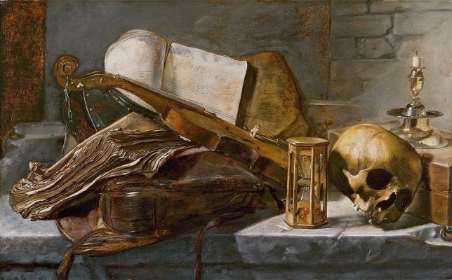 Jan Lievens. Vanitas. Still life with a skull, a clock and a violin