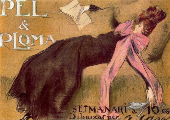 "Ramon Casas i Carbó. Illustration of the cover of the magazine ""Pel & Ploma"""