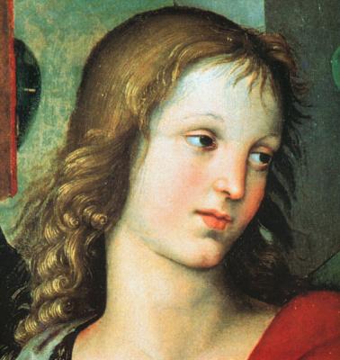 Raphael Sanzio. The angel. The altar of Baroni fragment