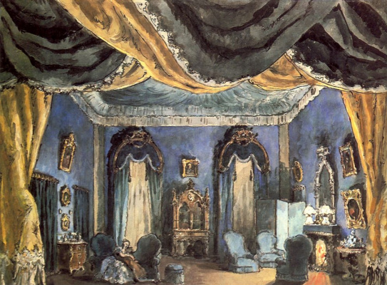 """Alexander Nikolaevich Benoit. A sketch of the scenery of the 2nd activity to the production of the play by Alexander Dumas """"the lady of the camellias"""""""